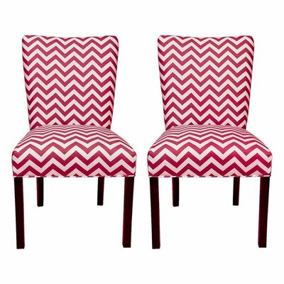 Julia Side Chair Upholstery: Zig Zag Lipstick / White