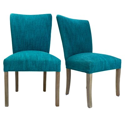 Julia Lucky Spring Seating Double Dow Upholstered Side Chair Upholstery: Turquoise