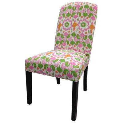 Flora Cotton Parson Chair Upholstery: Pink / Green