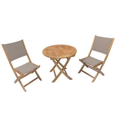 Curren Teak 3 Piece Bistro Set
