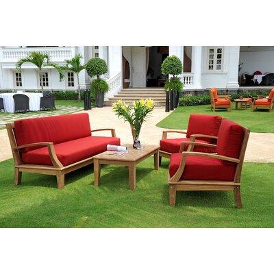 Bainum Teak 4 Piece Sofa Set with Cushions
