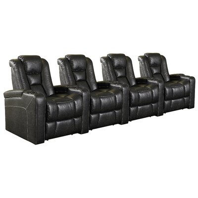 Home Theater 4 Seater Group Upholstery: Black LTDR2574 40221467