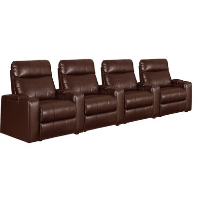 Home Theater Recliner Row of 4 Color: Brown