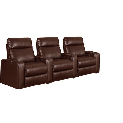 Home Theater Recliner Row of 3 Color: Brown