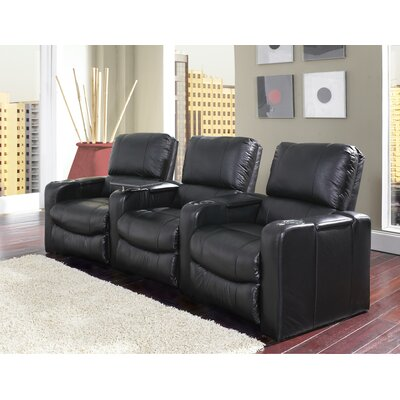 Curved Home Theater Recliner (Row of 3) Upholstery: Leather / Vinyl Match - Savannah Black