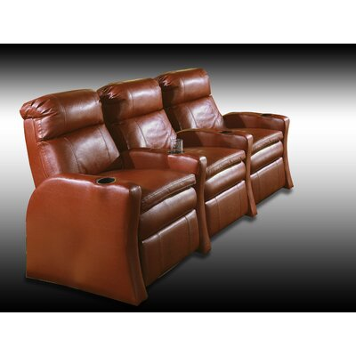 Home Theater Recliner (Row of 3) Upholstery - Color: Top Grain Leather / Vinyl Match - Pecos Walnut