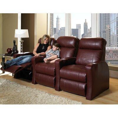 Home Theater Recline (Row of 3) Upholstery - Color: Bonded Leather - Cantina Chili