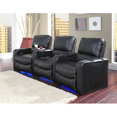 Lighted Home Theater Recliner (Row of 3) Upholstery: Leather / Vinyl Match - Savannah Wine