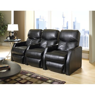 Modern Home Theater Recliner (Row of 3) Upholstery - Color: Bonded Leather - Cantina Black