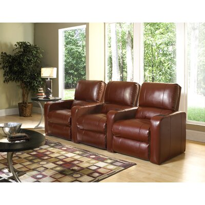Modern Upholstery Home Theater Recliner (Row of 3) Upholstery - Color: Bonded Leather - Cantina Chili