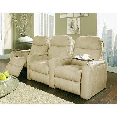 Upholstery Home Theater Recliner (Row of 3) Upholstery - Color: Leather/Vinyl Match - Pecos Cream