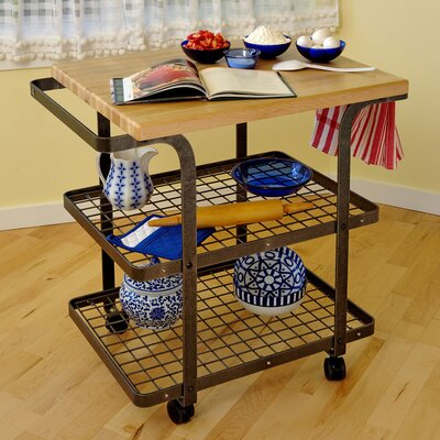 Premier Kitchen Cart with Wood Top