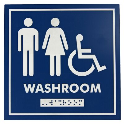 Male, Female and Wheelchair Symbol With Braille Emboss