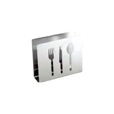 Cuisinox Stainless Steel Cocktail Napkin Holder with Flatware Cut-outs NAP21