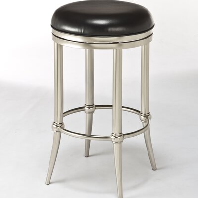Cadman 26 Swivel Bar Stool Upholstery: Black, Frame Finish: Dull Nickel