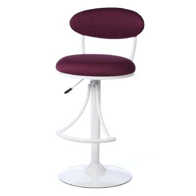 Venus 24 inch Adjustable Swivel Bar Stool Upholstery Color: Plum Fabric