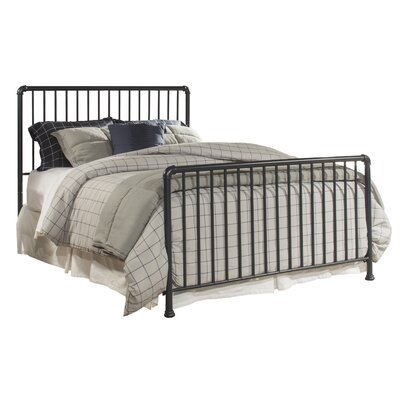 Cade Sleigh Metal Bed Color: Navy, Size: Queen