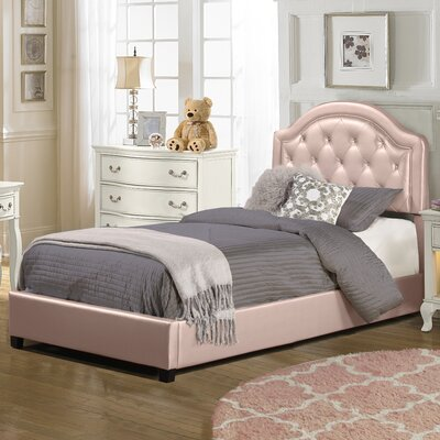 Krista Upholstered Panel Bedframe Finish: Pink, Size: Twin