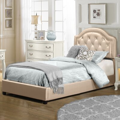 Krista Upholstered Panel Bedframe Finish: Champagne, Size: Twin