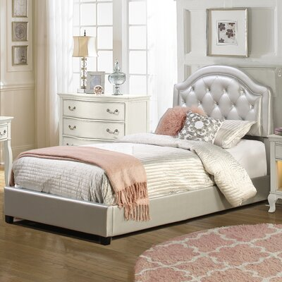 Krista Upholstered Panel Bedframe Size: Full, Finish: Silver