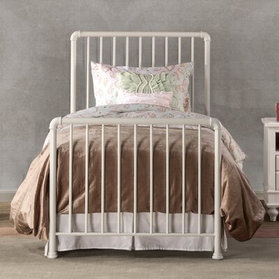Cade Sleigh Metal Bed Size: Twin, Color: White
