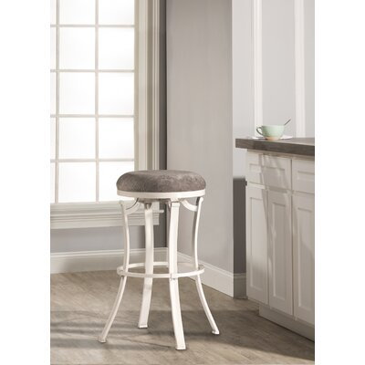 Karsten Round Swivel Bar Stool Color: White