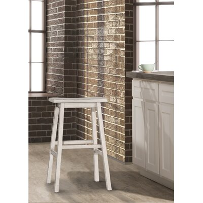 Angelique Saddle Bar Stool Color: White
