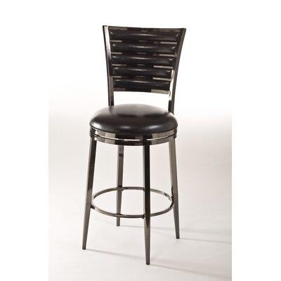 Rouen 30 Swivel Bar Stool with Cushion Color: Black