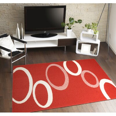 SoHo Area Rug Color: Crimson Red/Ivory