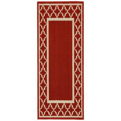 Moroccan Frame Crimson/Ivory Area Rug Rug Size: Runner 2 x 5