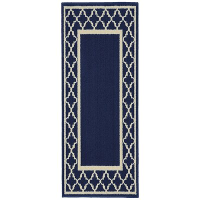 Moroccan Frame Indigo/Ivory Area Rug Rug Size: Runner 2 x 5