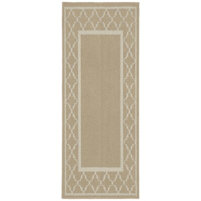 Moroccan Frame Tan/Ivory Area Rug Rug Size: Runner 2 x 5