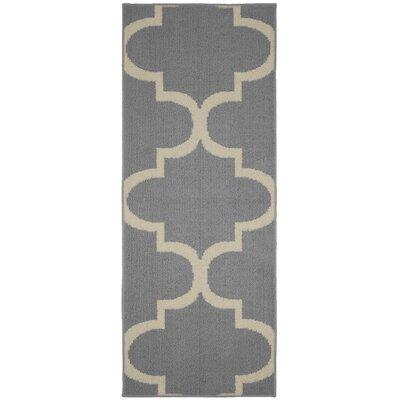 Large Quatrefoil Gray/Ivory Area Rug Rug Size: Runner 2 x 5