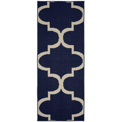 Large Quatrefoil Indigo/Ivory Area Rug Rug Size: Runner 2 x 5