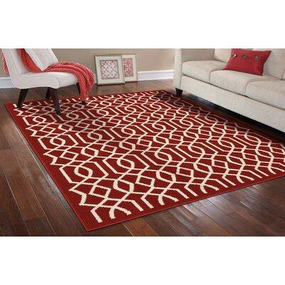 Fretwork Crimson/Ivory Area Rug Rug Size: 26 x 310