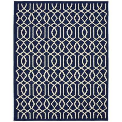 Fretwork Navy/Ivory Area Rug Rug Size: 26 x 310