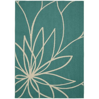 Grand Floral Teal/Ivory Area Rug Rug Size: 26 x 310