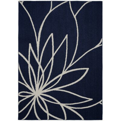 Grand Floral Indigo/Ivory Area Rug Rug Size: 5 x 7