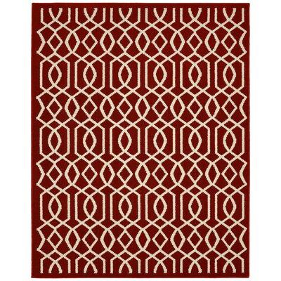 Fretwork Crimson/Ivory Area Rug Rug Size: 5 x 7
