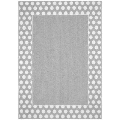 Polka Dot Frame Silver/White Area Rug Rug Size: 5 x 7