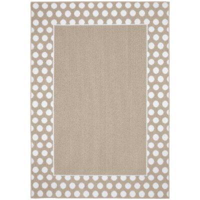 Polka Dot Frame Tan/White Area Rug Rug Size: 5 x 7