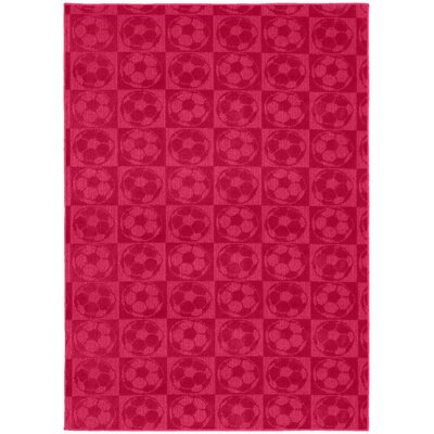 Sports Balls Pink Area Rug Rug Size: 76 x 96