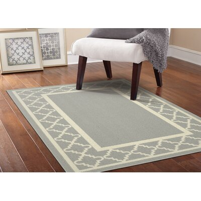 Moroccan Frame Silver/Ivory Area Rug Rug Size: 5 x 7