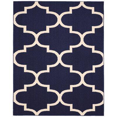 Large Quatrefoil Indigo/Ivory Area Rug Rug Size: 8 x 10
