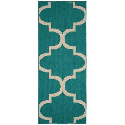 Large Quatrefoil Teal/Ivory Area Rug Rug Size: Runner 2 x 5