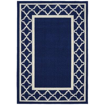 Moroccan Frame Indigo/Ivory Area Rug Rug Size: 5 x 7