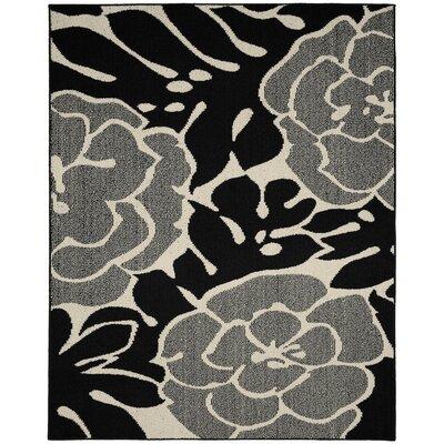 Valencia Black/Ivory Area Rug Rug Size: 5 x 7