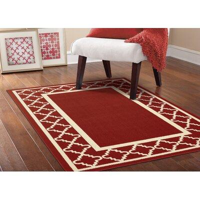Moroccan Frame Crimson/Ivory Area Rug Rug Size: 5 x 7