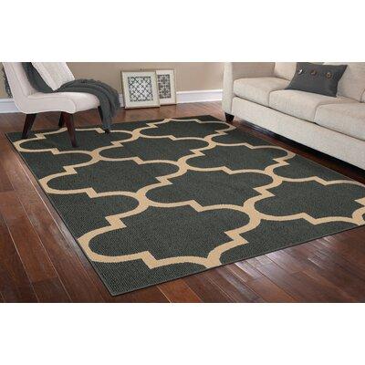 Large Quatrefoil Cinder/Tan Area Rug Rug Size: 26 x 310