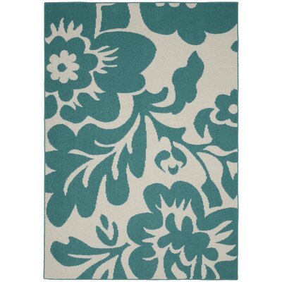 Floral Garden Teal/Ivory Area Rug Rug Size: 5 x 7